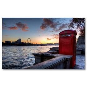 Αφίσα (πόλη, Λονδίνο, τηλεφωνικός θάλαμος, ουρανός, ποτάμι, κτίρια, αρχιτεκτονική)